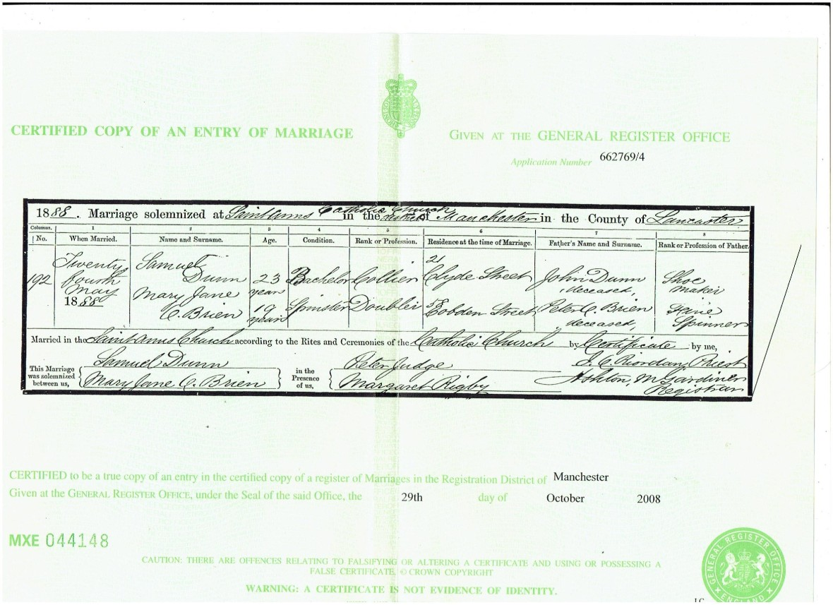 Marriage certificate Mary Jane O'Brien 001 (2)